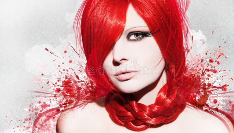 Красивая женщина в красочной предпосылке стоковая фотография