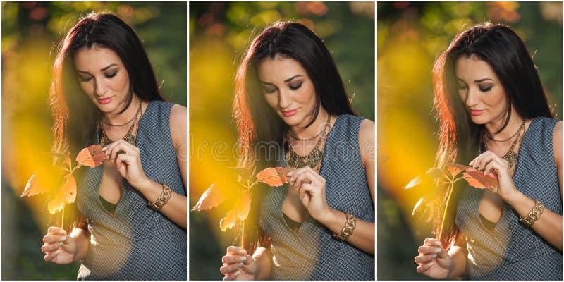 Красивая женщина в серый представлять в осеннем парке Молодая женщина брюнет держа лист и тратя время в осени стоковые фотографии rf