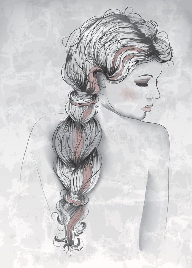 Красивая женщина в стиле нарисованном рукой бесплатная иллюстрация