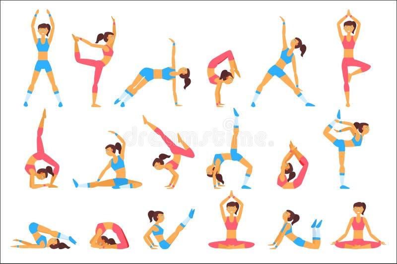 Красивая женщина делая различные тренировки Йога в природе Здоровый уклад жизни Персонаж из мультфильма маленькой девочки в sport иллюстрация вектора