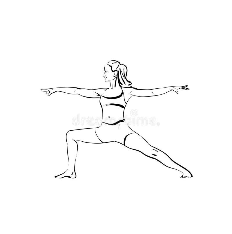 Красивая женщина делая эскиз йоги, черным по белому иллюстрация штока
