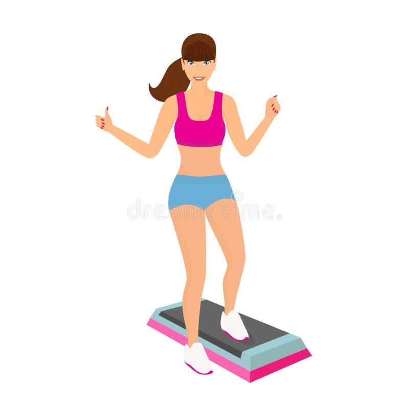 Красивая женщина делая аэробную разминку в изолированном спортзале - иллюстрация вектора