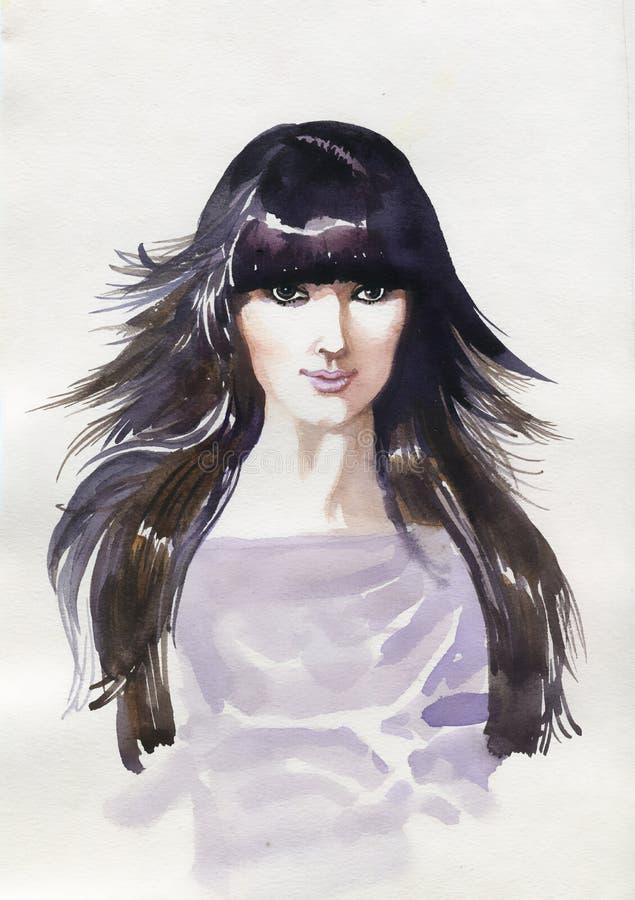 Красивая женщина. Иллюстрация покрашенная рукой иллюстрация вектора
