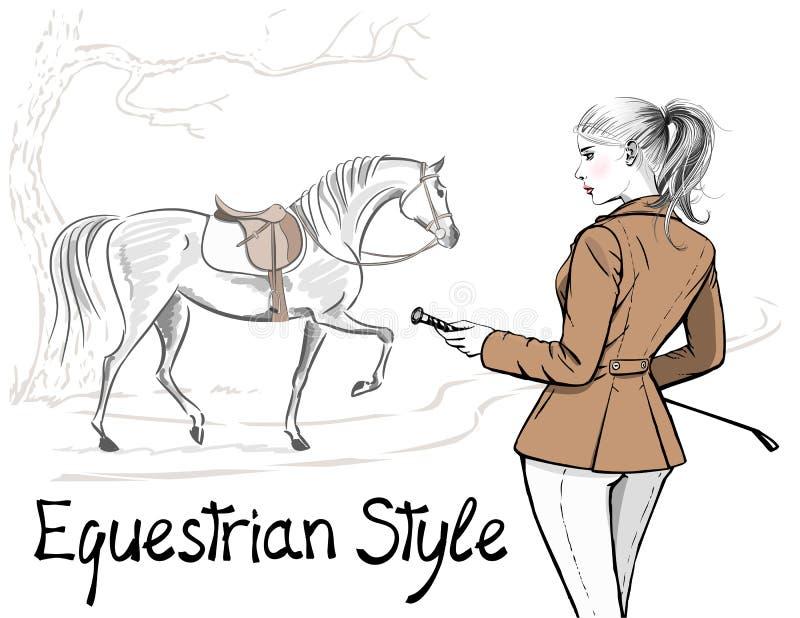 Красивая женщина моды с английскими курткой и лошадью стиля звероловства конноспортивного спорта с седловиной бесплатная иллюстрация