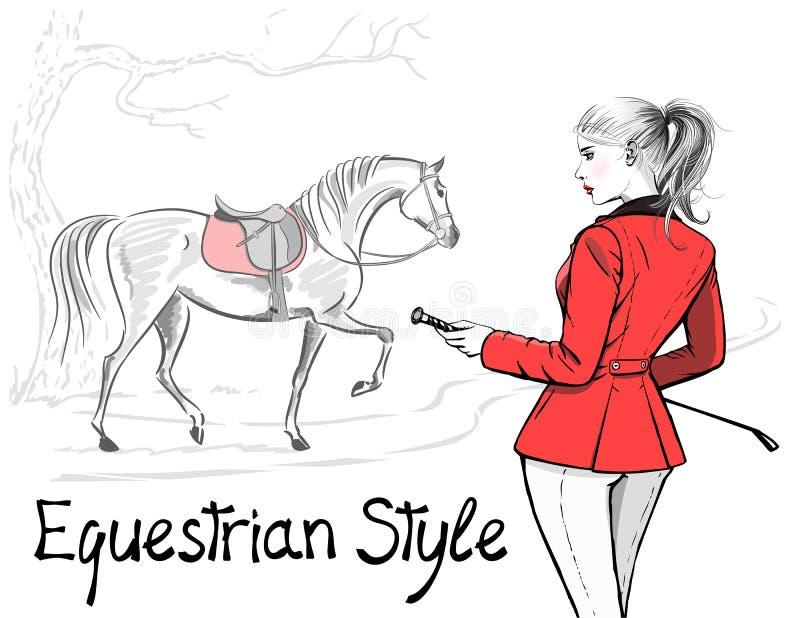 Красивая женщина моды с курткой и лошадью английского стиля звероловства конноспортивного спорта красной с седловиной иллюстрация штока