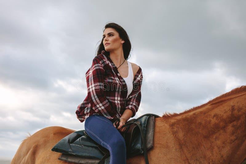 Красивая женщина на ее жеребце стоковые изображения rf