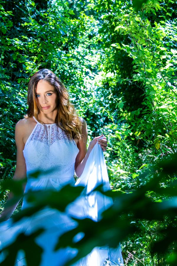 Красивая женщина, невеста с голубыми глазами и коричневые волосы идут через густолиственные древесины, полесье на яркий солнечный стоковые фотографии rf