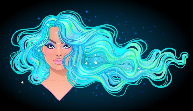 Красивая женщина при длинные волнистые волосы пропуская в ветре Волосы sa иллюстрация штока
