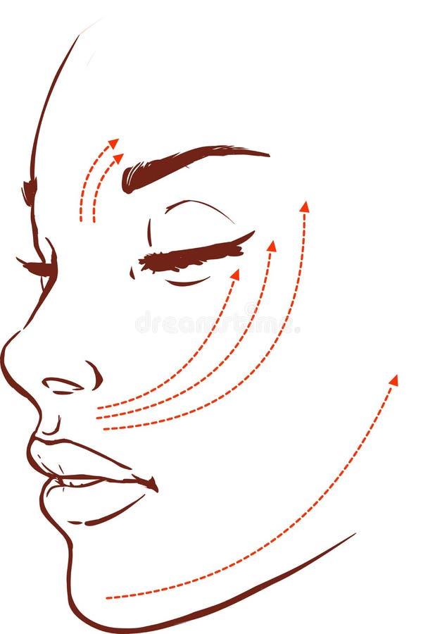 Красивая женщина при метки нарисованные на ее стороне для пластичного cosmeti иллюстрация штока