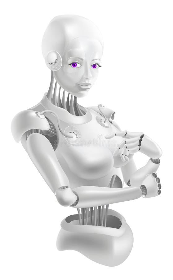 Красивая женщина робота стоит в элегантном представлении иллюстрация штока