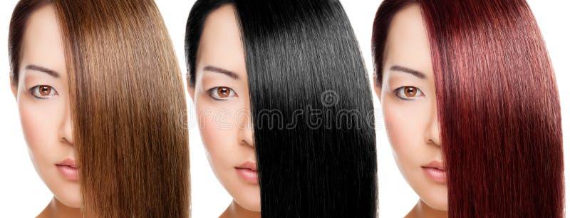 Красивая женщина с 3 версиями цвета волос стоковые изображения