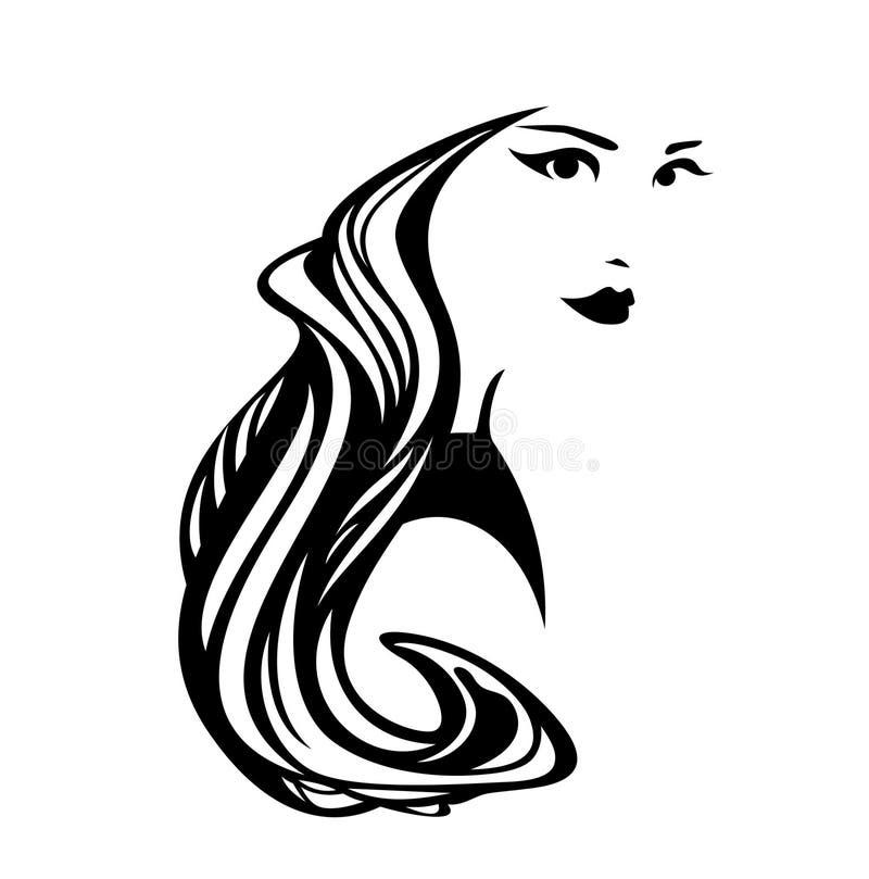 Красивая женщина с дизайном вектора длинных волос черным иллюстрация штока