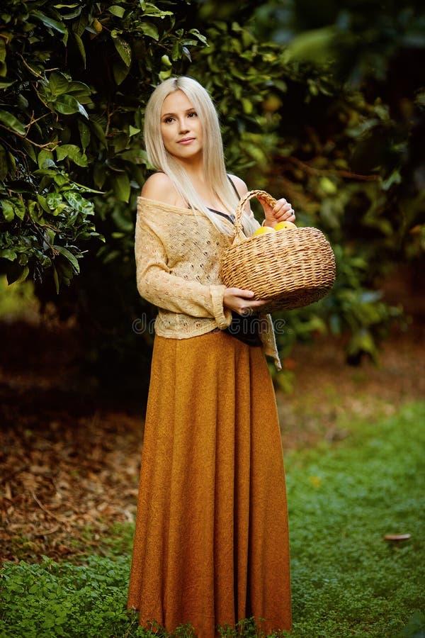 Красивая женщина с корзиной цитруса стоковое изображение rf