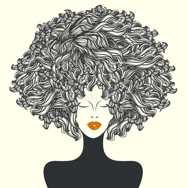 Красивая женщина с стилем причёсок Афро курчавым иллюстрация штока