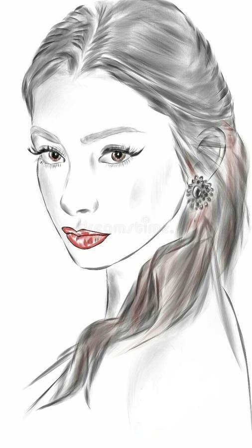 красивая женщина черно-белая стоковая фотография rf