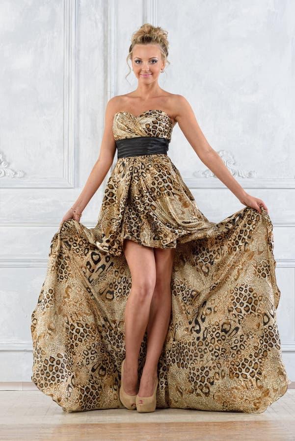 Красивая женщина bonde в леопарде сделала по образцу длинное платье. стоковое фото rf