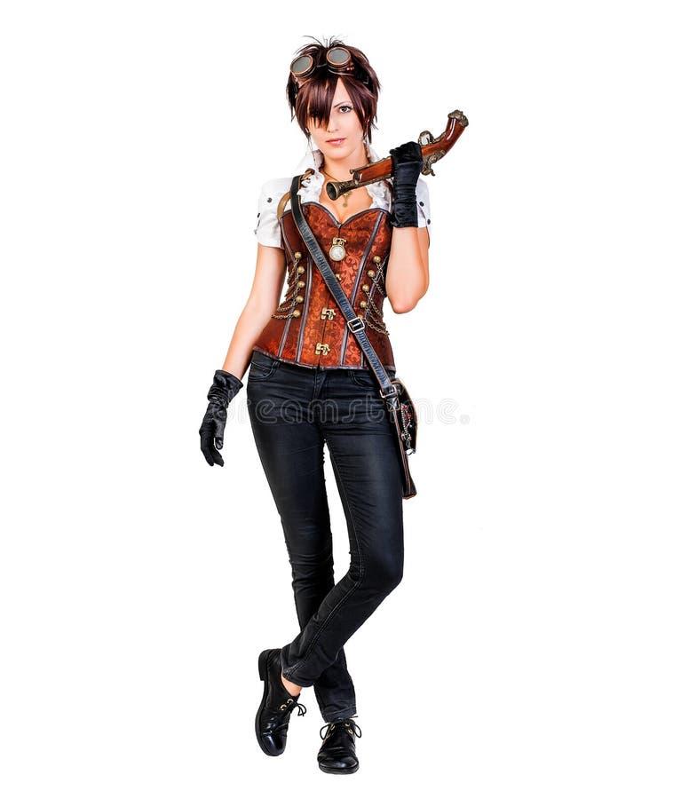 Красивая женщина steampunk нося винтажный корсет и ретро gogg стоковое фото rf