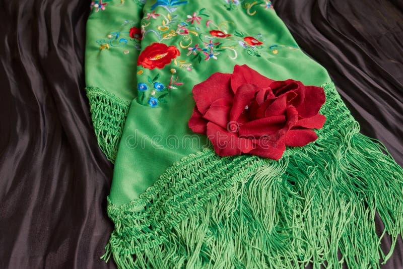 Красивая зеленая шаль Манилы с цветком Винтажные испанские одежды стоковое фото