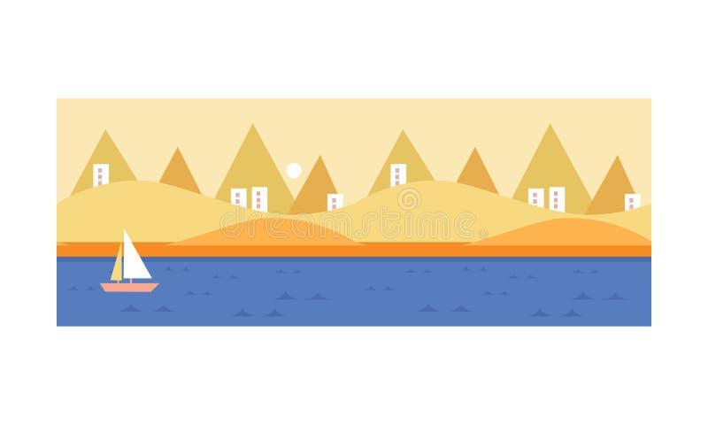 Красивая иллюстрация вектора ландшафта, seascape, песчаного пляжа и моря лета иллюстрация вектора