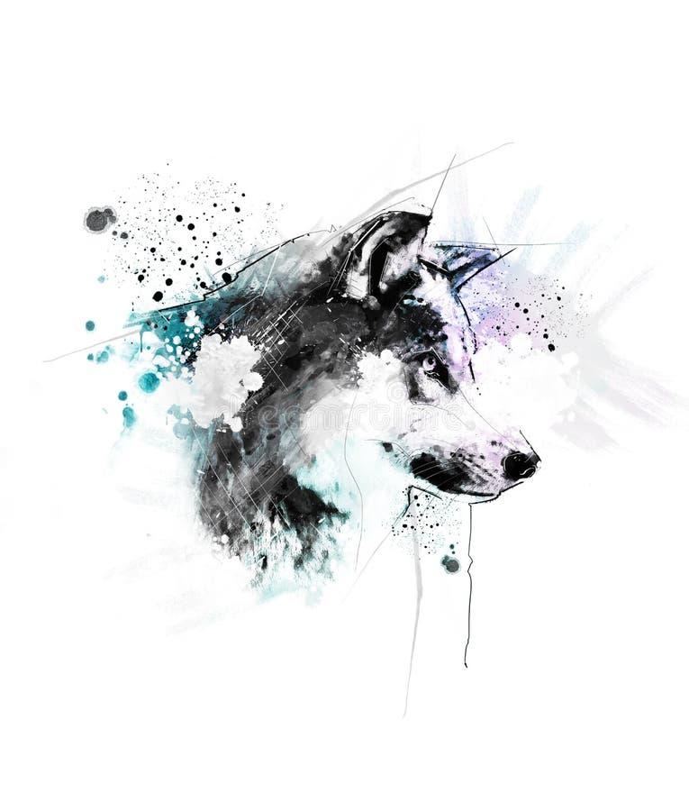 Красивая иллюстрация волка акварели иллюстрация вектора