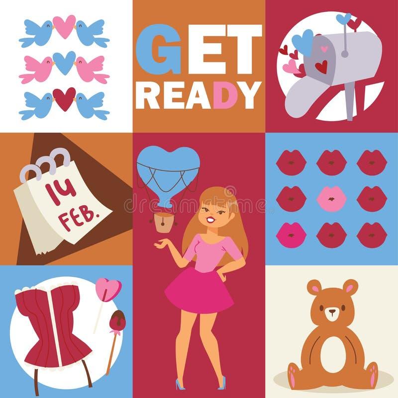 Красивая иллюстрация женщины моды Стильная девушка с аксессуарами, медведь, птицы губы, сердца, помадки, корсет o иллюстрация штока