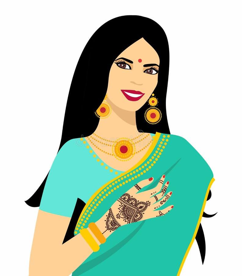 Красивая индийская молодая женщина брюнет в сари иллюстрация вектора