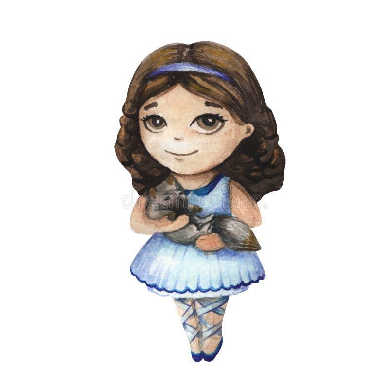 Красивая и милая балерина иллюстрация штока