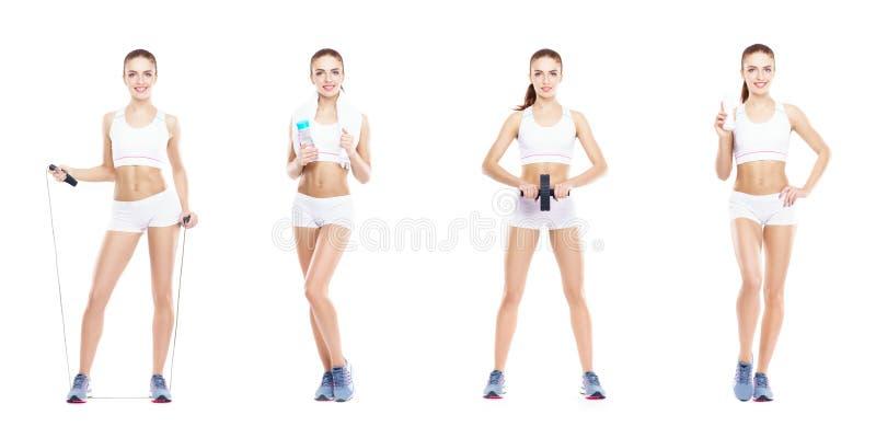 Красивая и подходящая женщина в разминке фитнеса Изолированный коллаж Концепция потери спорта, питания, здоровья и веса стоковое фото