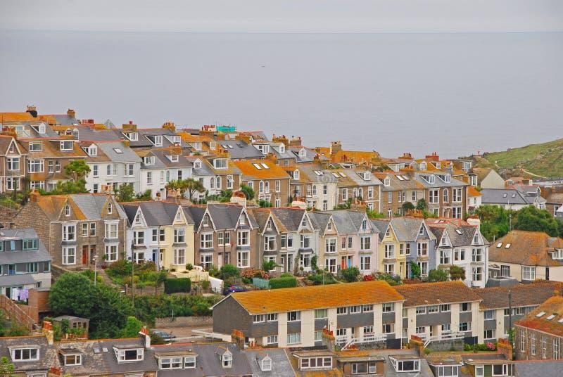 Красивая и уникально архитектура домов в St Ives Корнуолле стоковые фотографии rf