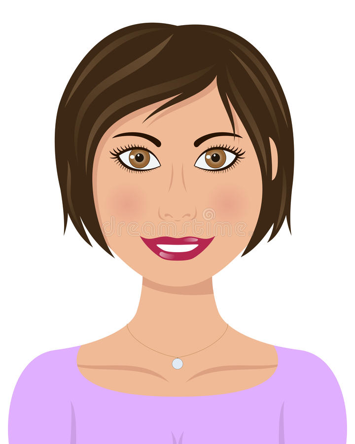 Красивая кавказская женщина с волосами Брайна иллюстрация штока