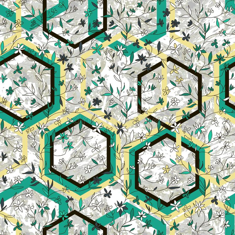 Красивая картина геометрического и флористического вектора безшовная Цветки и косоугольники руки вычерченные небольшие на мраморн иллюстрация вектора