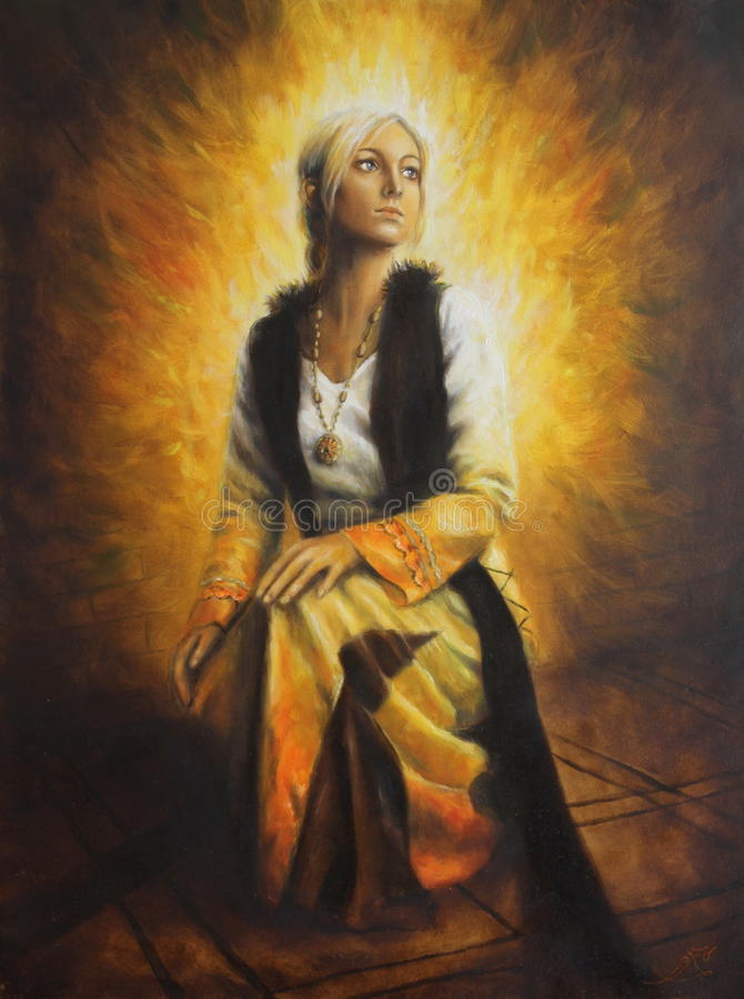 Красивая картина маслом молодой женщины в историческом платье на холсте иллюстрация вектора