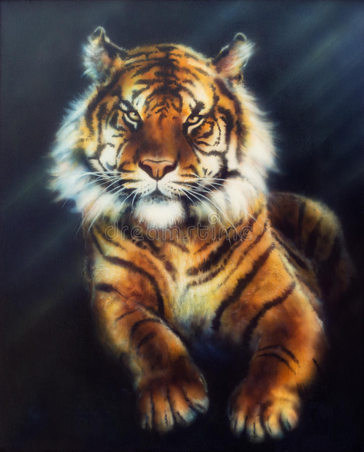 Красивая картина маслом на холсте могущественного тигра смотря вверх бесплатная иллюстрация