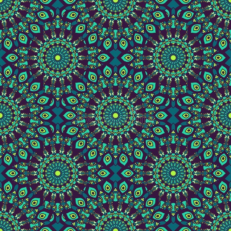 Красивая картина сини, teal, зеленых и фиолетовых восточная безшовная бесплатная иллюстрация