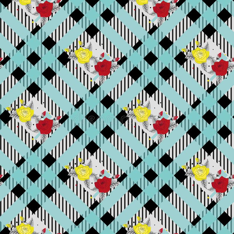 Красивая картина цветков красного цвета и tellow на черной и голубой предпосылке eps10 шотландки тартана бесплатная иллюстрация