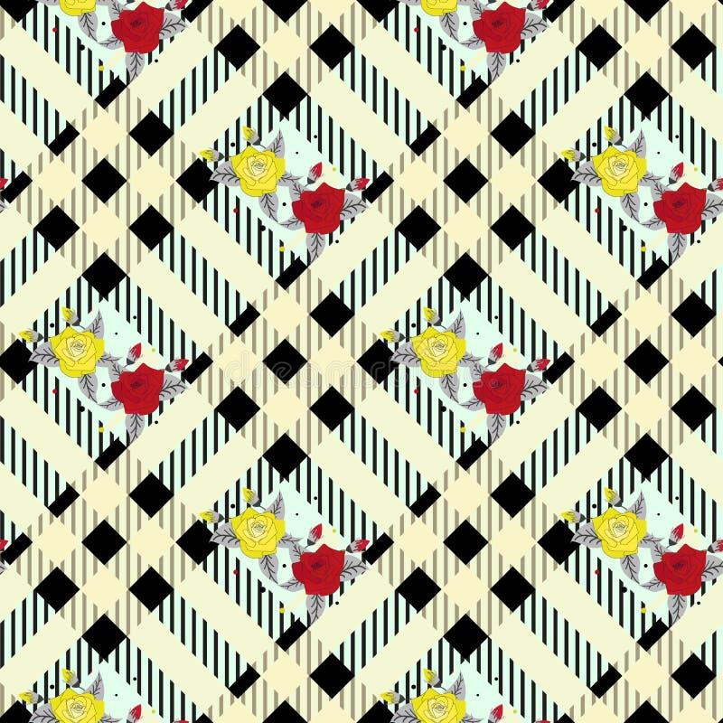 Красивая картина цветков красного цвета и tellow на черно-белой предпосылке тартана шотландки бесплатная иллюстрация