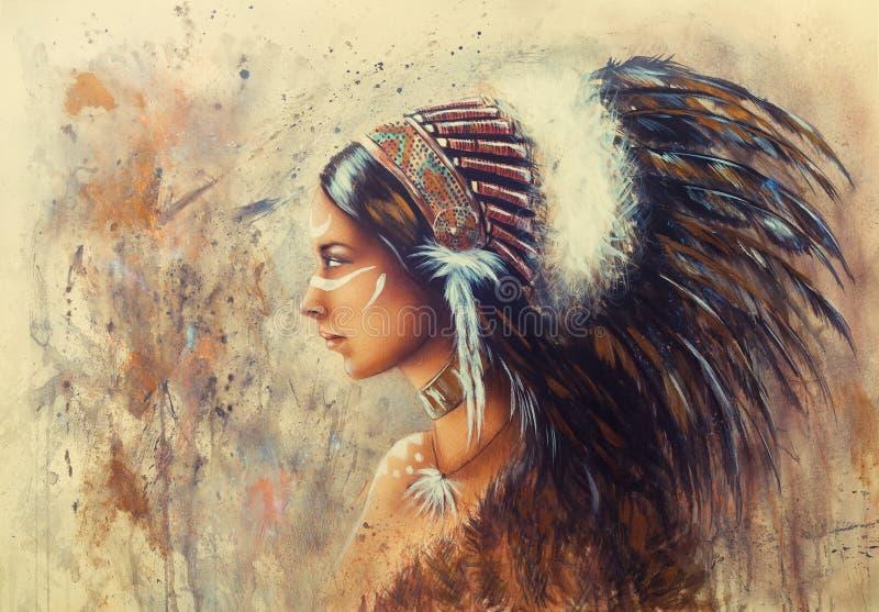 Красивая картина airbrush молодой индийской женщины нося bi иллюстрация вектора