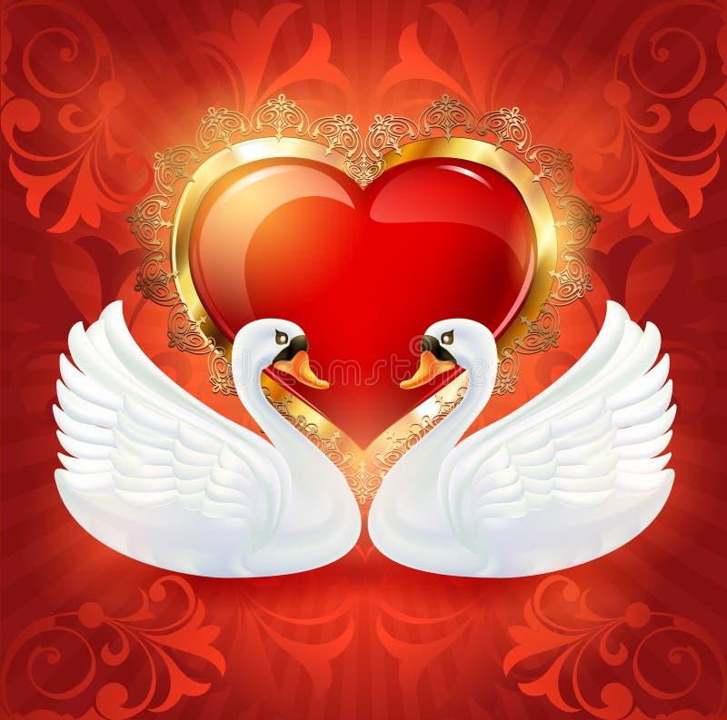 Красивая карточка приглашения свадьбы с сердцем и белыми лебедями Красное сердце в рамке золота с флористическим орнаментом на пи иллюстрация штока