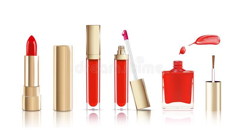 Красивая косметика установленная в золото губная помада, лоск губы и маникюр с мазком Вектор состава реалистический косметический бесплатная иллюстрация