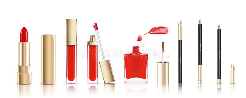 Красивая косметика установленная в золото губная помада, лоск губы, маникюр с мазком и pelcil карандаша для глаз косметики состав бесплатная иллюстрация