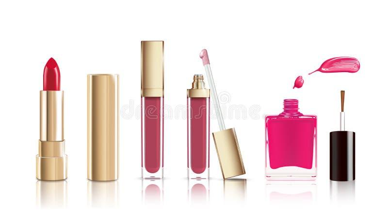 Красивая красная косметическая губная помада, жидкостный лоск губы и комплект маникюра Вектор состава реалистический косметически бесплатная иллюстрация