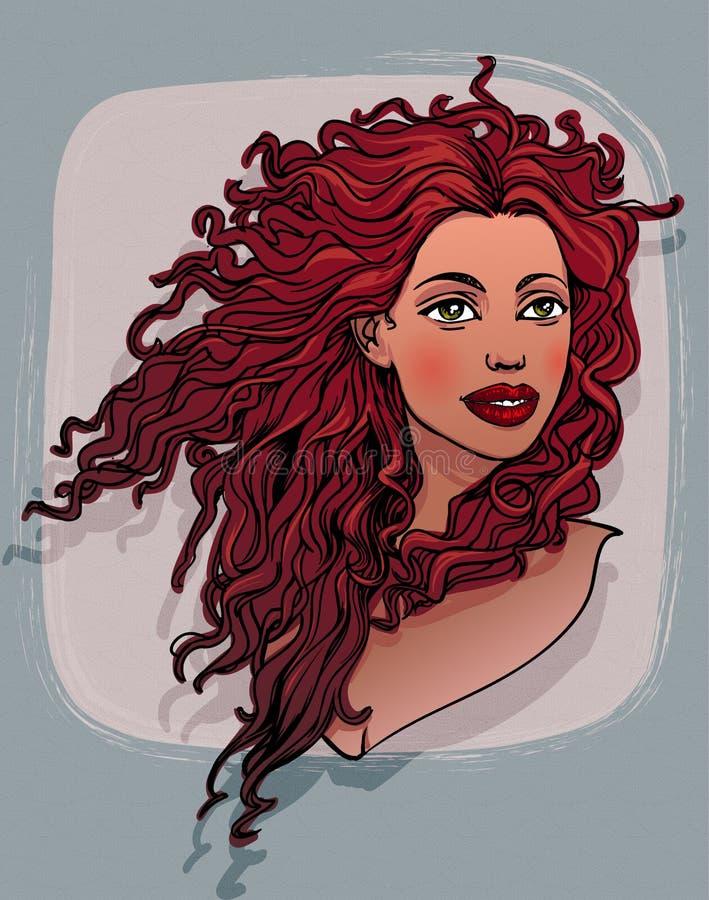 Красивая красная курчавая с волосами женщина иллюстрация штока