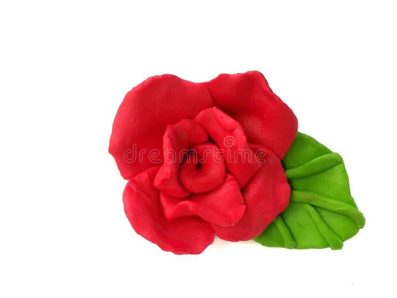 Красивая красная роза, глина пластилина цветка, handmade флористическое тесто стоковая фотография