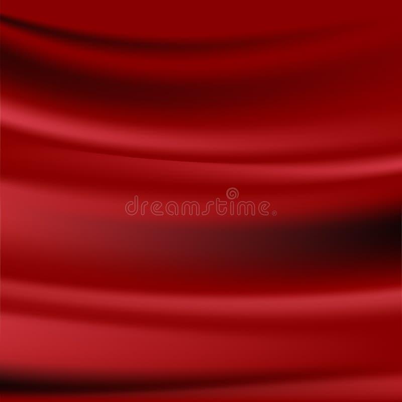 Красивая красная ткань сатинировки для предпосылки конспекта Drapery ткань красной предпосылки абстрактная или жидкостная иллюстр иллюстрация вектора