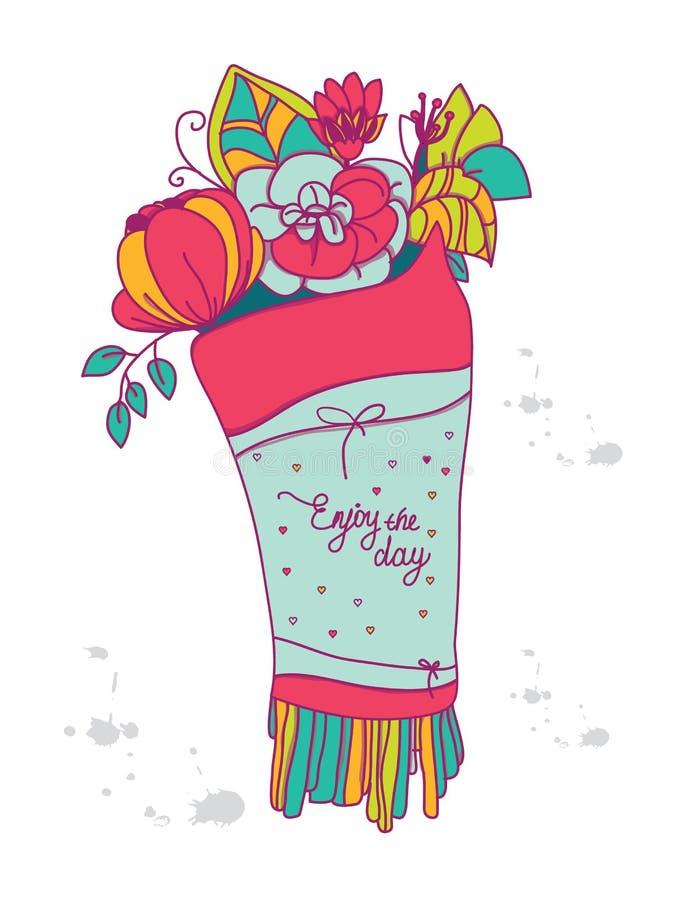 Красивая красочная предпосылка с цветками чертежа бесплатная иллюстрация