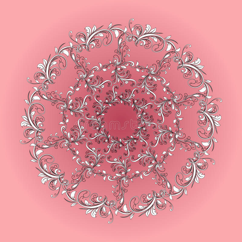 Красивая круговая картина флористического иллюстрация вектора