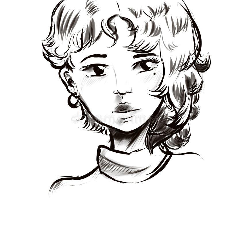 Красивая линия черноты стороны портрета девушки иллюстрация штока