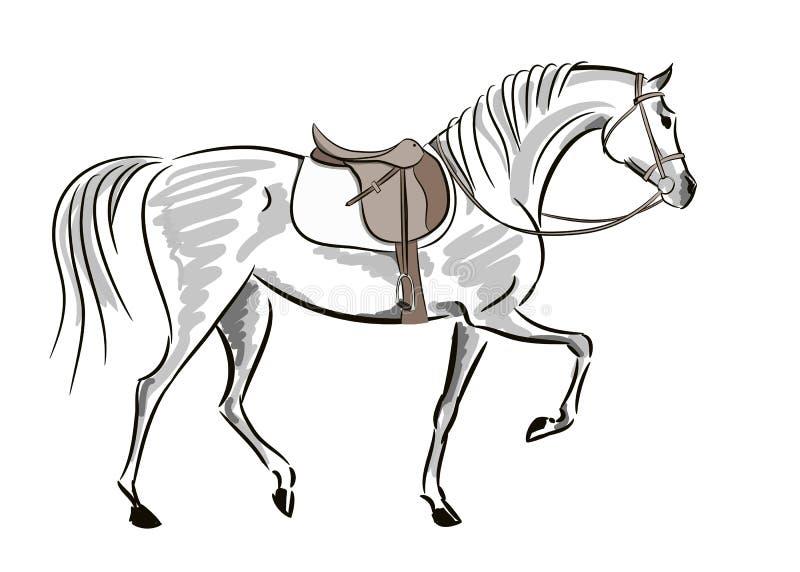 Красивая лошадь в движении с седловиной и уздечкой Английский стиль осени звероловства лисы конноспортивного спорта иллюстрация вектора