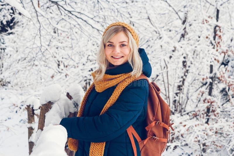 Красивая маленькая девочка в парке зимы идет в лес зимы стоковые изображения rf