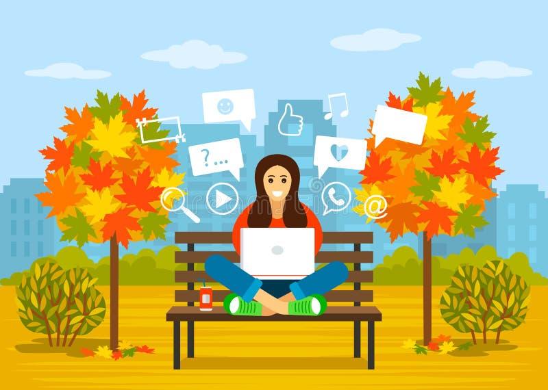 Красивая маленькая девочка сидит в парке в осени с ноутбуком для искать информацию в Интернете концепция современного иллюстрация штока
